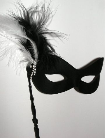 Soft form black & white feather Stick Mask
